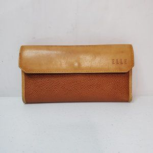 Elle Two Tone Textured Leather Checkbook Wallet